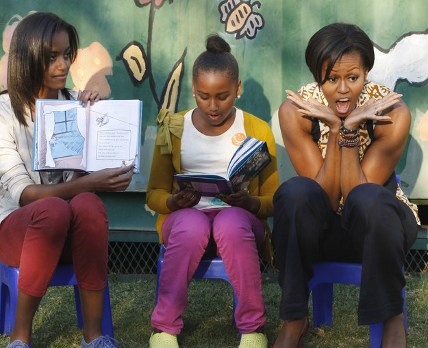 2011 - Reading to children in South Africa with her mom and sister.