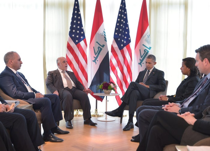 Iraq's Prime Minister Haider Al-Abadi speaks during a bilateral meeting with US President Barack Obama on the sidelines of the G7 Summit