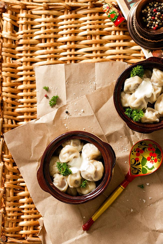Looks like the love child of tortellini and a pierogi, and tastes as good as that sounds.Country: RussiaTypical Filling: Beef and/or potato.Recipe: Russian Meat Dumplings