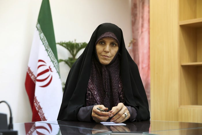 Vice President for Women and Family Affairs Shahindokht Molaverdi during an interview with The Associated Press in Tehran on June 8.