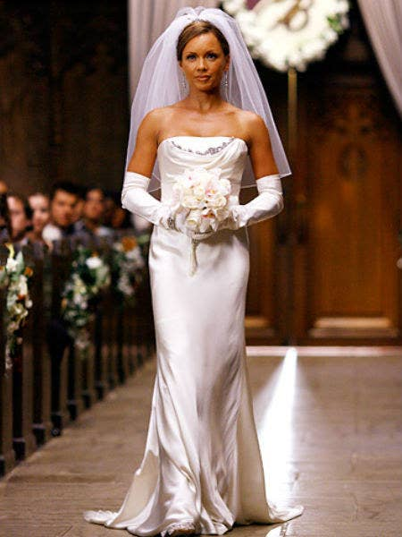 The Queen Of Mean Sashayed Down Aisle Toward Bradford Meade In A Bespoke Number Designed