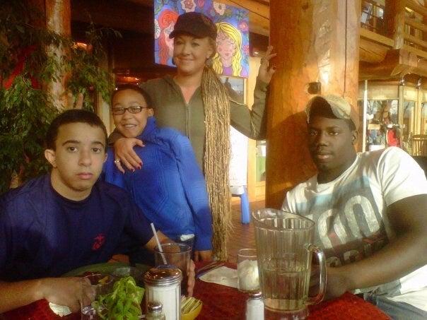 From left to right: Ezra Dolezal, Franklin Moore (Rachel's biological son), Rachel Dolezal, and Zach Dolezal.