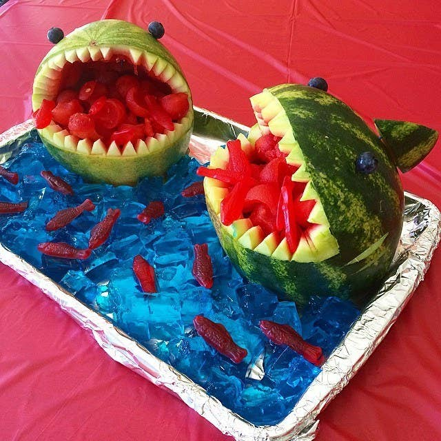 Fill the jaws with candy or a fruit salad, and pick out if you dare!