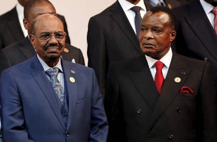 Sudanese President Omar al-Bashir, left, with his Congolese counterpart, Denis Sassou Nguesso, in Johannesburg Sunday.