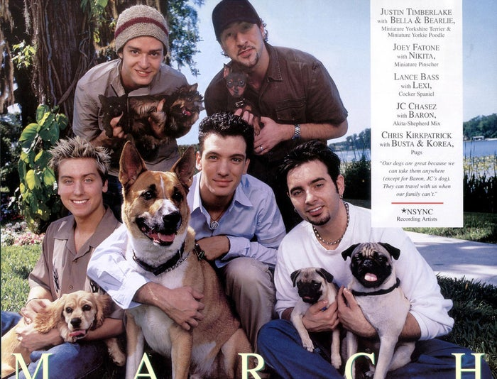 Lance Bass with Lexi, JC Chasez with Baron, and Chris Kirkpatrick with Busta and Korea, Justin Timberlake with Bella and Bearlie, and Joey Fatone with Nikita.