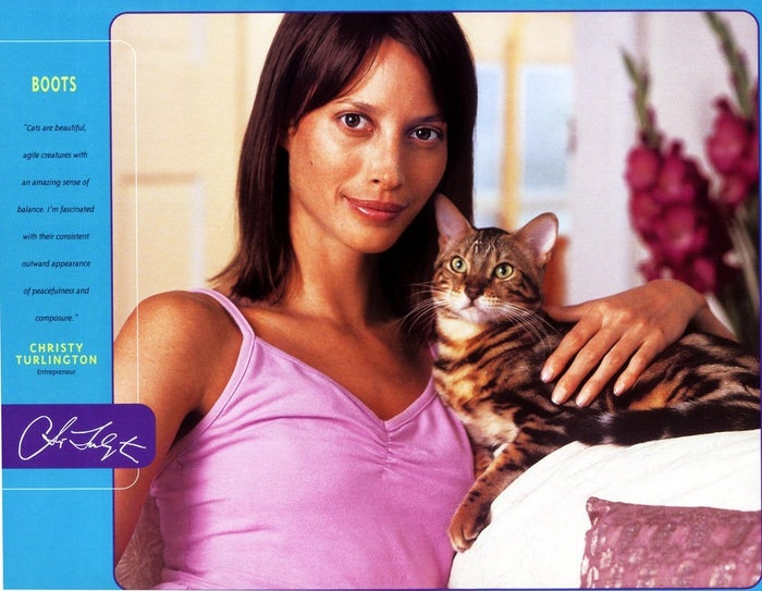 Christy Turlington with her cat, Boots