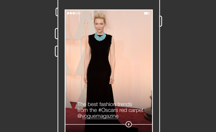 This BuzzFeed-created artist rendering showing how a final version of Project Lightning might look. Images and videos appear full screen as you swipe through them. A timeline across the bottom shows you where you are in an event as it progresses over time.
