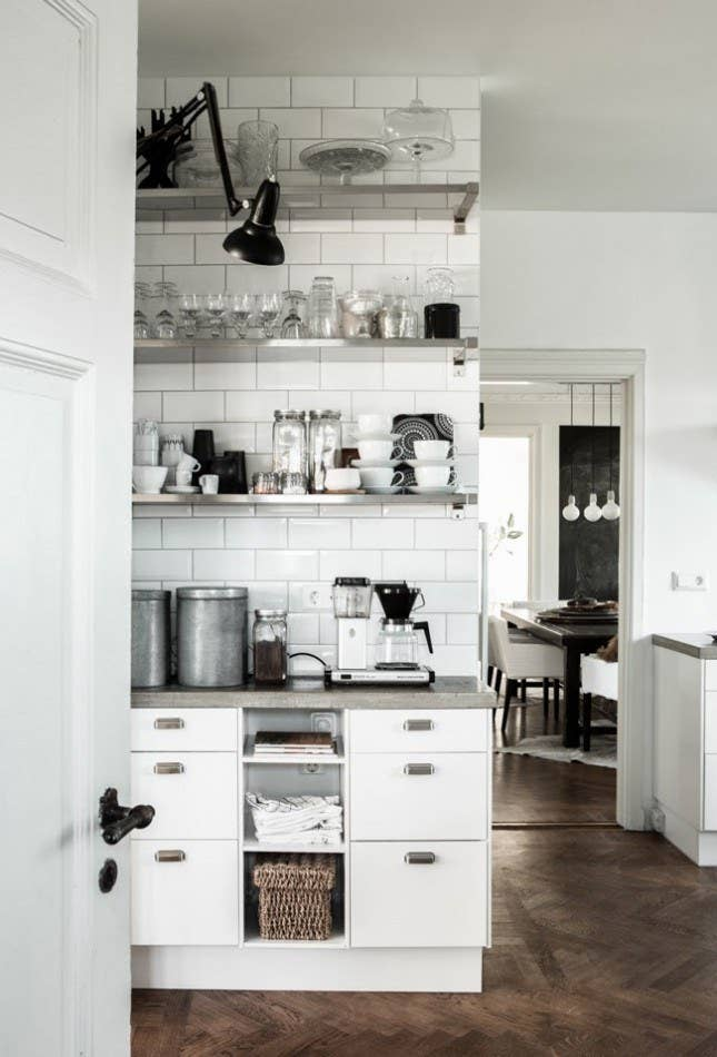 Paint walls white and use black as your accent shade.