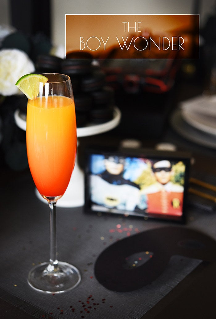 This drink, the love child of a tequila sunrise and a mimosa, makes a perfect brunch-appropriate sidekick to the Bruce Wayne. The measurements are just a guideline; feel free to add as much champagne as you like.Serves 13 oz. orange juice2 oz. sparkling wine1 oz. silver tequilaSplash grenadine or maraschino cherry juicePour tequila, juice, and sparkling wine into a champagne flute and stir. Tilt glass slightly and slowly pour grenadine down the side so that it settles at the bottom. Garnish with a lime slice.