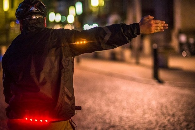 The jacket has 23 integrated LEDs that are motion activated. When you lift your right arm, the lights will signal that you're turning right. Pretty neat!