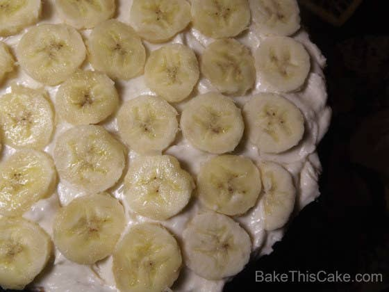 Don't forget the lost art of sandwiching the center of the cake with frosting and fresh banana slices!