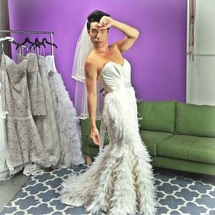 What happens when guys try on wedding dresses for the for Wedding dresses eugene oregon