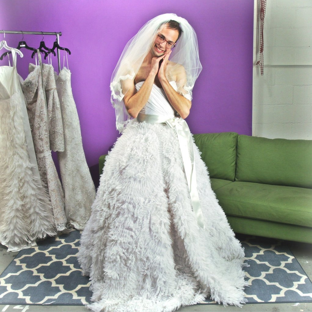What Happens When Guys Try On Wedding Dresses For The