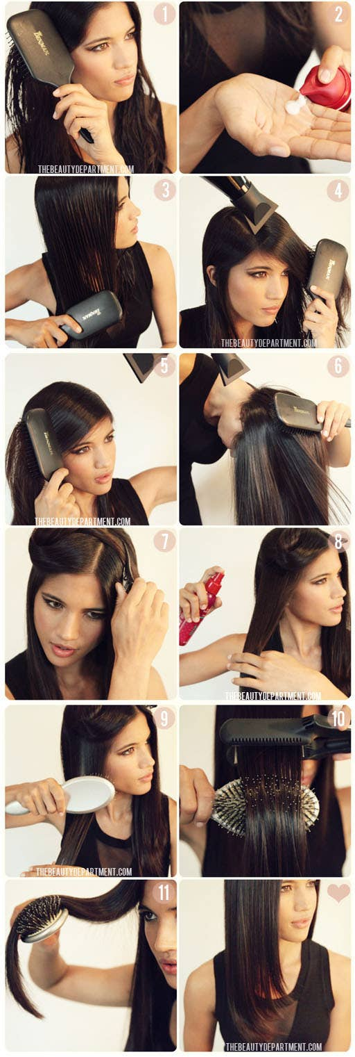 Once you've completely ironed your hair, drape the hot hair over a brush until it cools with a bend. Check out the tutorial here.