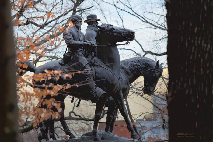 A statue of Robert E. Lee and Stonewall Jackson in Baltimore.