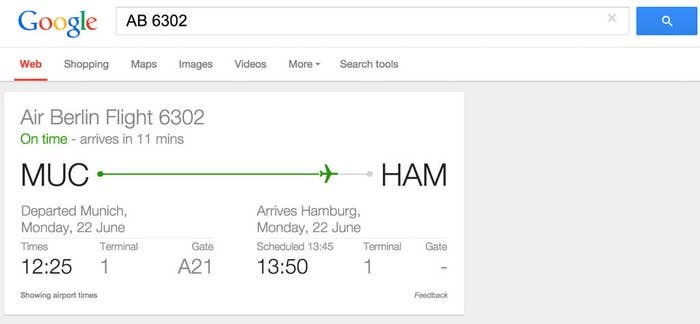 All you need is the flight number, and Google is able to pull up the information in less than a second.