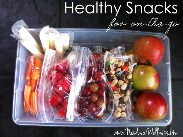Prepare a box of grab-and-go snacks on Sundays so you always have something healthy to nosh on every day.