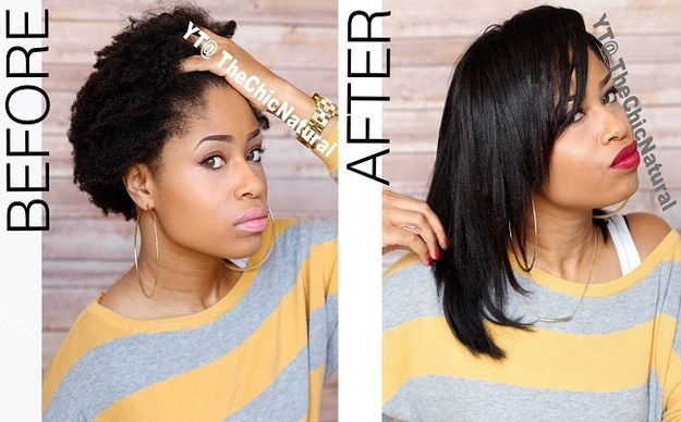 Check out this genius twist-and-gel trick to flat-iron natural hair without blow-drying it first.