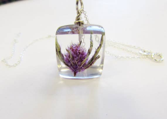 8680b3851e9 Each one is handmade using a real Scottish thistle suspended in resin on a  a silver chain