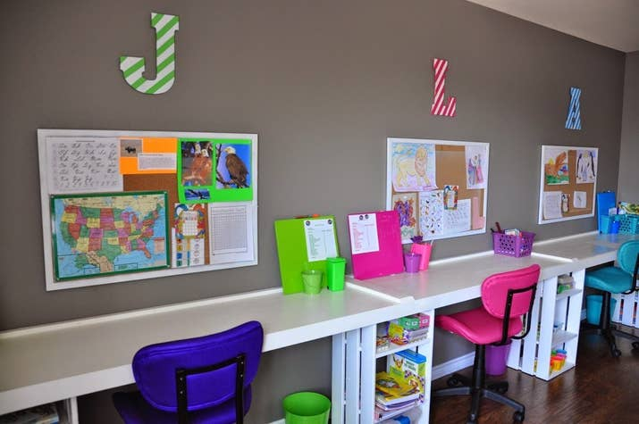 3  Color coding can also help students keep track of which supplies are  theirs. 27 Ridiculously Cool Homeschool Rooms That Will Inspire You