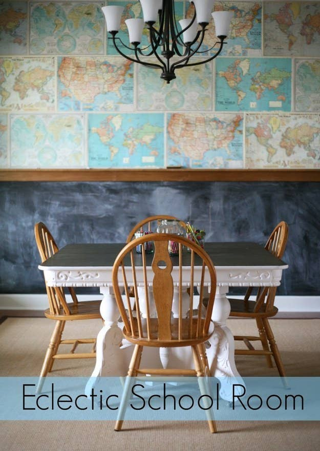 20  Maps make a phenomenal wall covering. 27 Ridiculously Cool Homeschool Rooms That Will Inspire You