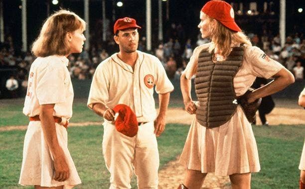 There is no crying in baseball but you might cry from laughter during this classic film about the All-American Girls Professional Baseball League during World War II.