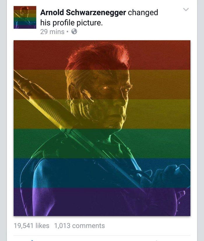 He kept his old image, a promotional photo for the upcoming movie Terminator Genisys, but overlaid the pic with pride colours.