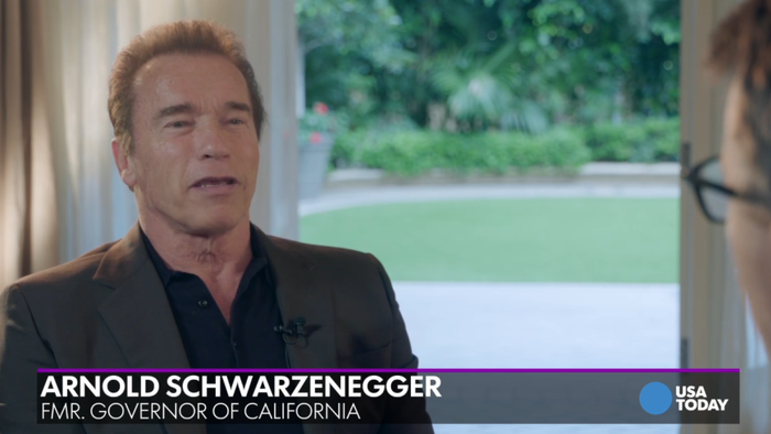 "In an interview with USA Today following the historic ruling, Schwarzenegger said: ""Everyone can enjoy the joy of getting married, connecting and being together. It's very simple, you cannot deny someone their own right."""