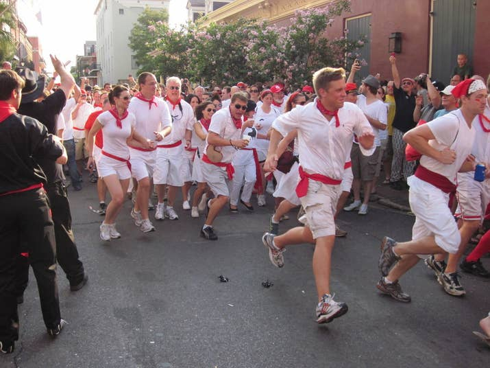 "Not much should get you going faster than being chased by bulls. Can't make it to Spain? Head to New Orleans instead. NOLA pays homage to the original with a yearly festival called Nola Bulls, where runners give chase to ""bulls"" on skates."