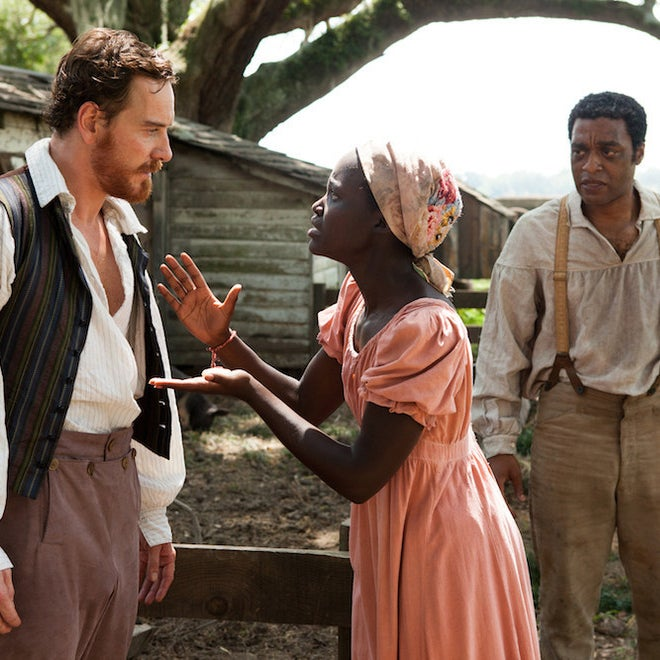 "Michael Fassbender, Lupita Nyong'o and Chiwetel Ejiofor in ""12 Years A Slave"""