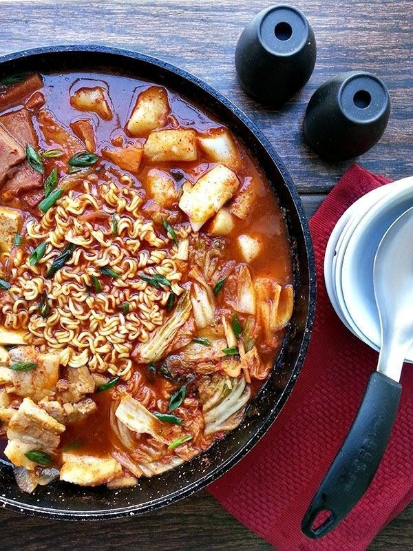 The dish has interesting roots in the Korean War, and evolved from kimchi soup. Spiciest ingredients: Red chili powder, red chili paste. Here's the recipe.