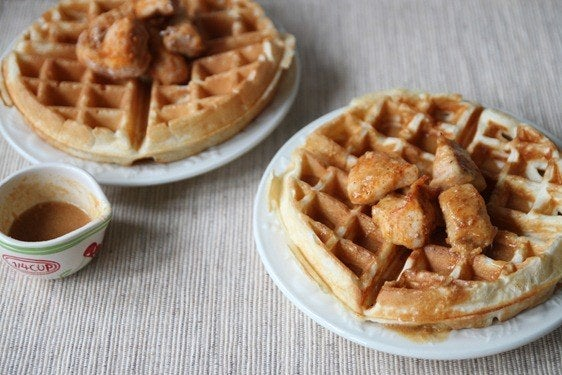 Chicken and waffles and peanut butter, oh my! Recipe here.