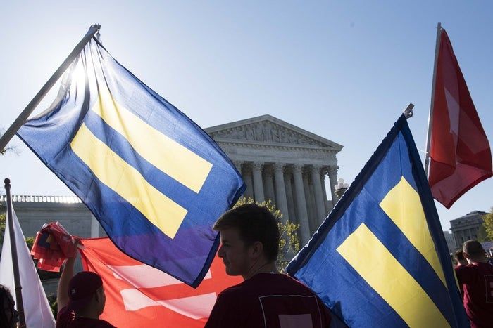 The Human Rights Campaign participated in a rally organized by the Unite for Marriage Coalition outside the Supreme Court to demonstrate support for marriage equality on Tuesday, April 28, 2015 in Washington.