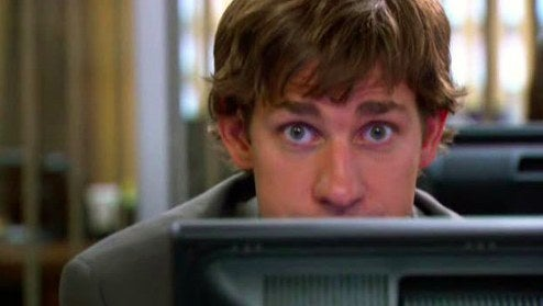 After years of being filmed by the documentary crew, the Dunder Mifflin employees accept it as routine, often forgetting the cameras are even there- All except Jim. He's the one employee who consistently checks in with the camera. Is this an amicable gesture, or a madman's attempt to keep vigilant control over how he's being perceived?