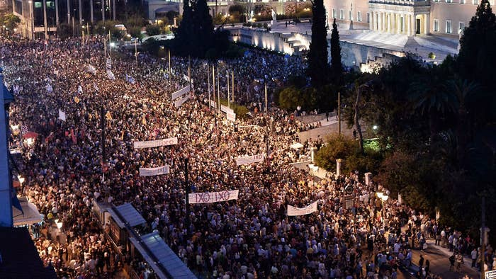 Demonstrators during a rally in Athens on Monday.
