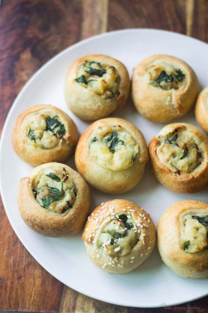 Heavy on the dough and potato, these little balls of joy are carb heaven.Region: Eastern EuropeTypical Filling: Potato and veggies.Recipe: Mini Potato & Chard Knishes