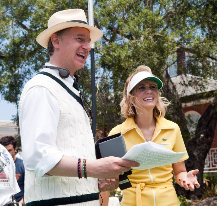 Feig and Kristin Wiig on the set of Bridesmaids.