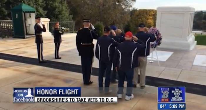 Shown Above: Veterans saluting the Tomb of the Unknowns — a monument dedicated to American service members who have died without their remains being identified.