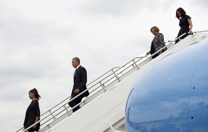 President Barack Obama and his family arrive at Delaware Air National Guard base to attend Beau Biden's funeral.