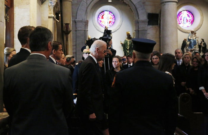 Vice President Joe Biden enters St. Anthony of Padua church in Wilmington, Delaware, for his son's funeral.