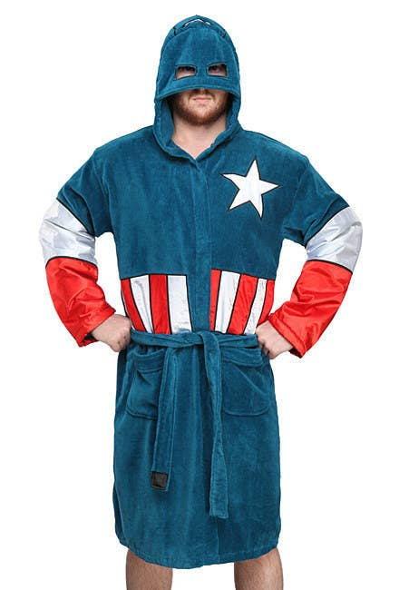 a892c026433f Bathtime will become extra epic with this Captain America bathrobe from  ThinkGeek.