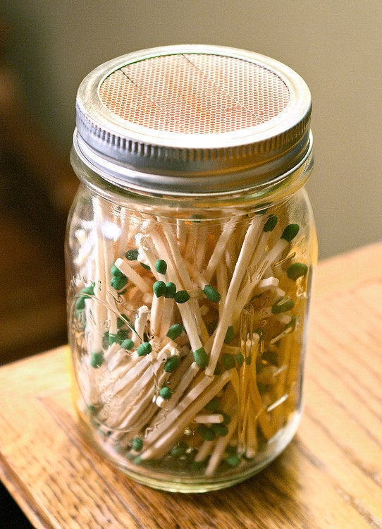 Pack up matches in a mason jar and place the strike pad under the rim of of the lid. This keeps the matches dry and easy to light!