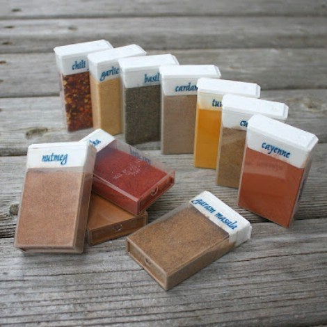 What turns campfire food from bland to grand? Well, spices of course. But don't boggle yourself down by packing all the individual bottles. Instead, store a sampling of spices in easy-to-travel containers, such as the tic-tac containers shown above. Pill boxes are also effective if you don't have a bunch of empty tic-tac containers lying around. Just make sure to label the spices! You don't want to reach for cayenne instead of cinnamon!