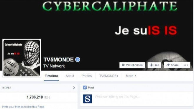 Image posted on the TV5 Monde Facebook and Twitter feeds during the attack.