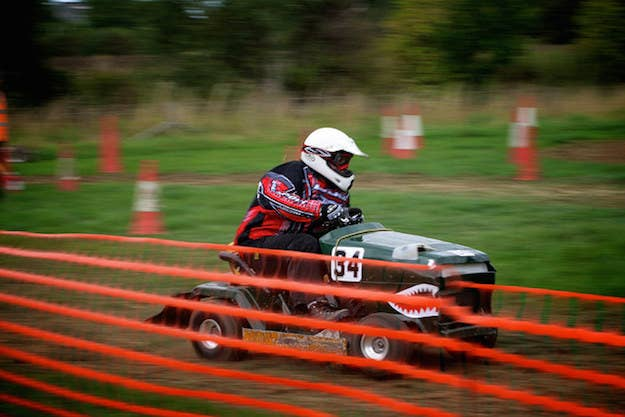 Lawn mower racing events take place all over the globe, from England to Czech Republic to New Zealand. What's unknown is whether or not participants later go into business together. Seems like it'd be good for the neighborhood— er, world.