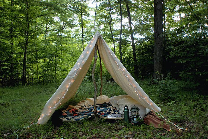 One of the (many) great things about camping in your own yard: you can always go inside if your tent falls over or it rains.Get the tutorial at The Merry Thought.