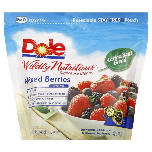 High in vitamin C and fiber, this antioxidant blend tastes great whether it's in smoothies, over yogurt, or straight out of the bag by the handful. Go here for more nutritional information.Serving Size: 1 cup70 calories0 g protein0 g fat0 mg sodium17 g carbohydrates (11 g sugar, 5 g fiber)