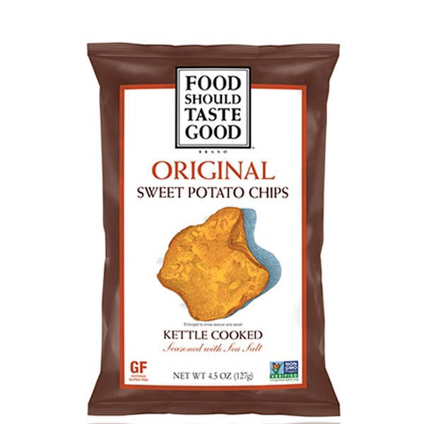 These kettle-cooked sweet potato chips are only 140 calories per serving, gluten free, and have around 70 grams less sodium than the average tortilla chip. Nom, nom, nom. Get more nutritional info here.Serving Size: 1 oz, about 14 chips160 calories1 g protein9 g fat (1 g Sat. Fat, 0 g Trans Fat)95 mg sodium18 g carbohydrates (4 g sugar, 3 g fiber)
