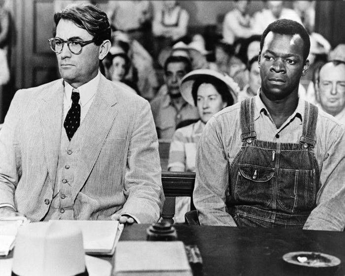 Actors Gregory Peck as Atticus Finch and Brock Peters as Tom Robinson in the film To Kill a Mockingbird.
