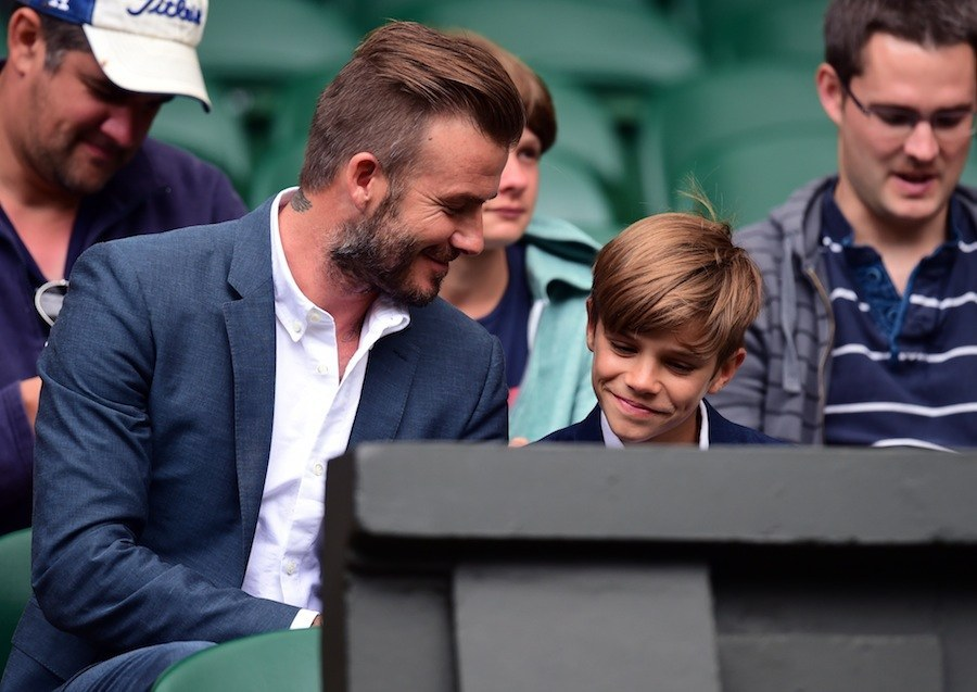 Here's David Beckham Casually Catching A Stray Tennis Ball At Wimbledon